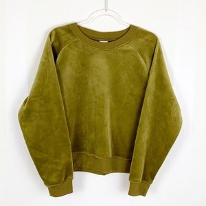 A New Day Green Crewneck Velour Pullover
